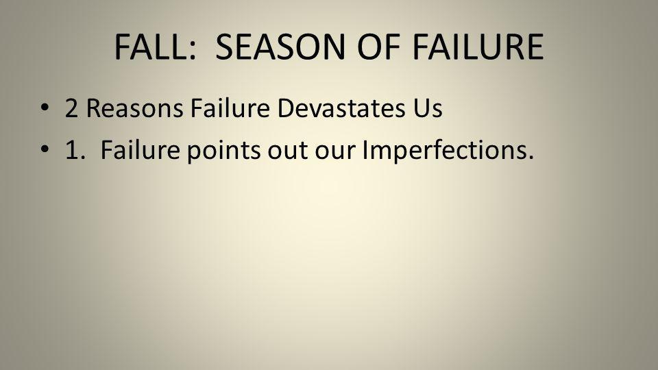 FALL: SEASON OF FAILURE 2 Reasons Failure Devastates Us 1. Failure points out our Imperfections.