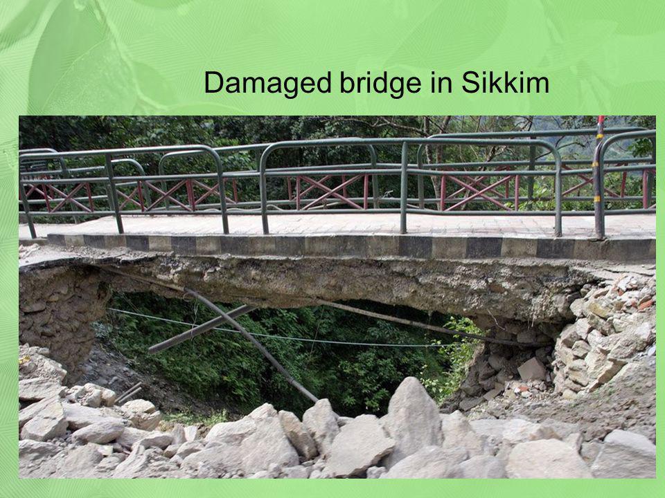 Damaged bridge in Sikkim