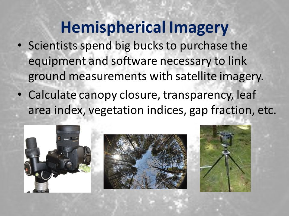 Hemispherical Imagery Scientists spend big bucks to purchase the equipment and software necessary to link ground measurements with satellite imagery.