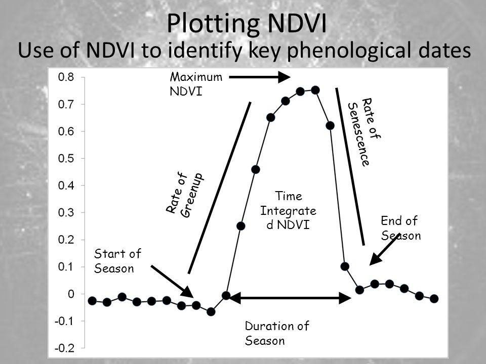 SOS Start of Season End of Season Duration of Season Rate of Greenup Maximum NDVI Time Integrate d NDVI Rate of Senescence Plotting NDVI Use of NDVI to identify key phenological dates
