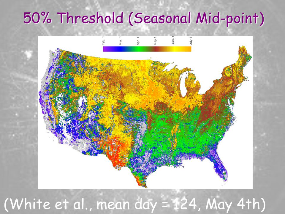 50% Threshold (Seasonal Mid-point) (White et al., mean day = 124, May 4th)