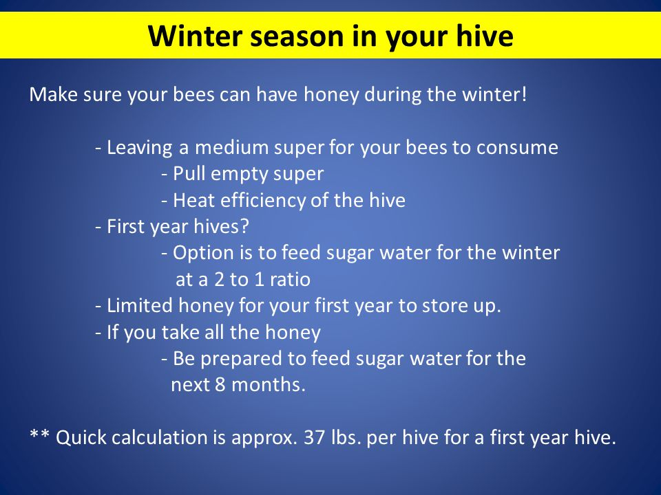Winter season in your hive Make sure your bees can have honey during the winter! - Leaving a medium super for your bees to consume - Pull empty super