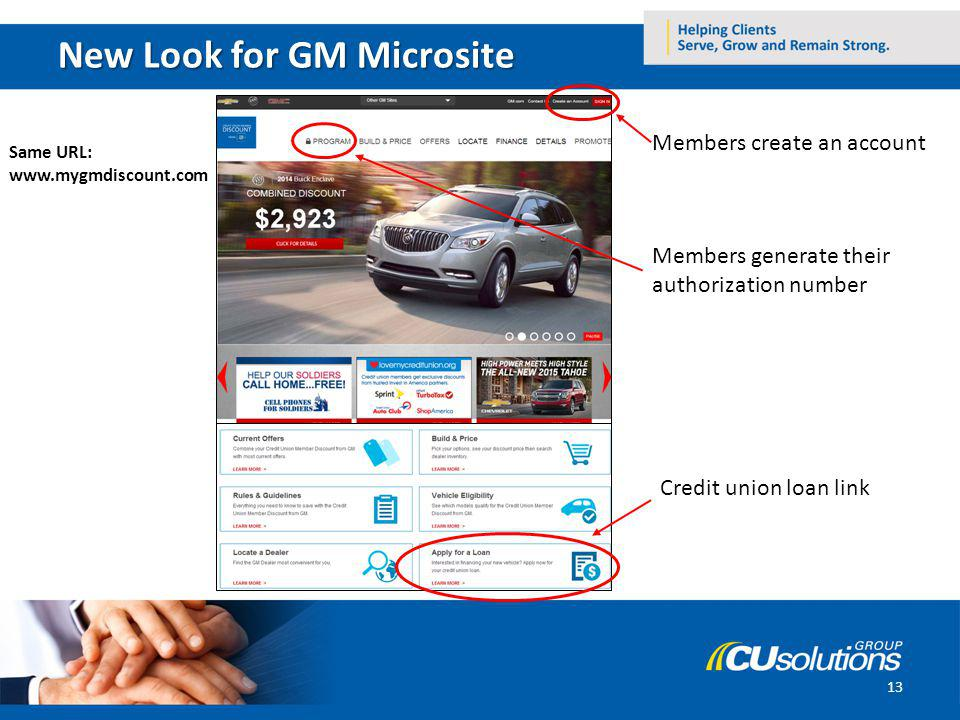 New Look for GM Microsite 13 Members create an account Members generate their authorization number Credit union loan link Same URL: www.mygmdiscount.com