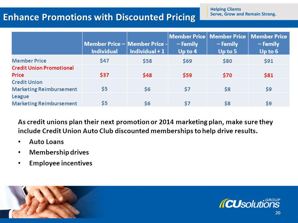 Enhance Promotions with Discounted Pricing Go to the Credit Union Auto Club Promotional Membership Enrollment portal As credit unions plan their next promotion or 2014 marketing plan, make sure they include Credit Union Auto Club discounted memberships to help drive results.