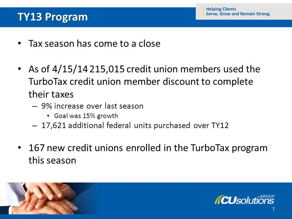 TY13 Program Tax season has come to a close As of 4/15/14 215,015 credit union members used the TurboTax credit union member discount to complete thei