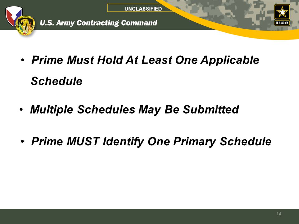 14 Prime MUST Identify One Primary Schedule Multiple Schedules May Be Submitted Prime Must Hold At Least One Applicable Schedule UNCLASSIFIED