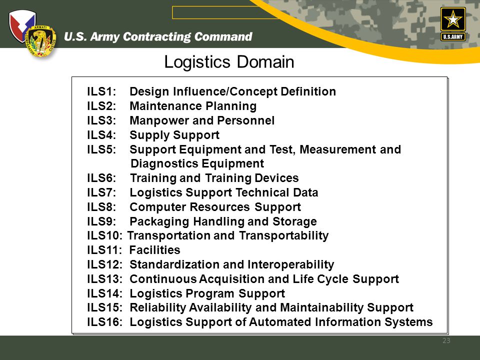 23 Logistics Domain ILS1: Design Influence/Concept Definition ILS2: Maintenance Planning ILS3: Manpower and Personnel ILS4: Supply Support ILS5: Support Equipment and Test, Measurement and Diagnostics Equipment ILS6: Training and Training Devices ILS7: Logistics Support Technical Data ILS8: Computer Resources Support ILS9: Packaging Handling and Storage ILS10: Transportation and Transportability ILS11: Facilities ILS12: Standardization and Interoperability ILS13: Continuous Acquisition and Life Cycle Support ILS14: Logistics Program Support ILS15: Reliability Availability and Maintainability Support ILS16: Logistics Support of Automated Information Systems