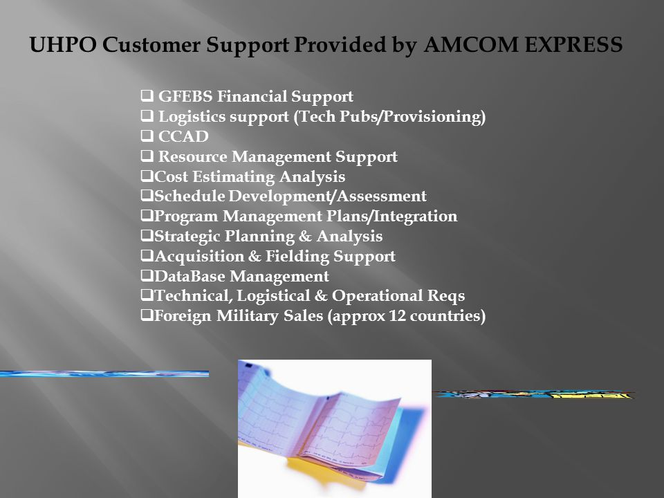 UHPO Customer Support Provided by AMCOM EXPRESS GFEBS Financial Support Logistics support (Tech Pubs/Provisioning) CCAD Resource Management Support Cost Estimating Analysis Schedule Development/Assessment Program Management Plans/Integration Strategic Planning & Analysis Acquisition & Fielding Support DataBase Management Technical, Logistical & Operational Reqs Foreign Military Sales (approx 12 countries)