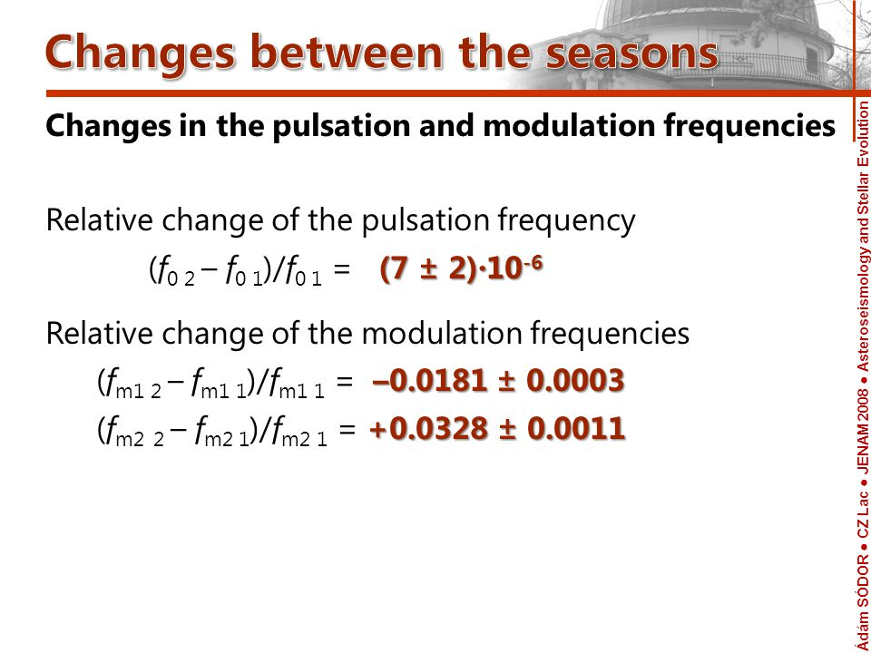 Ádám SÓDOR CZ Lac JENAM 2008 Asteroseismology and Stellar Evolution Telescope Changes in the pulsation and modulation frequencies Relative change of the pulsation frequency (7 ± 2)·10 -6 (f 0 2 – f 0 1 )/f 0 1 = (7 ± 2)·10 -6 Relative change of the modulation frequencies –0.0181 ± 0.0003 (f m1 2 – f m1 1 )/f m1 1 = –0.0181 ± 0.0003 +0.0328 ± 0.0011 (f m2 2 – f m2 1 )/f m2 1 = +0.0328 ± 0.0011