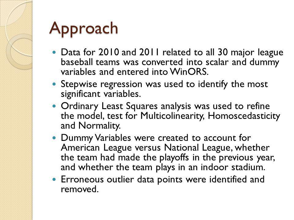 Approach Data for 2010 and 2011 related to all 30 major league baseball teams was converted into scalar and dummy variables and entered into WinORS.