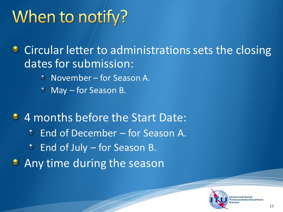 Circular letter to administrations sets the closing dates for submission: November – for Season A.