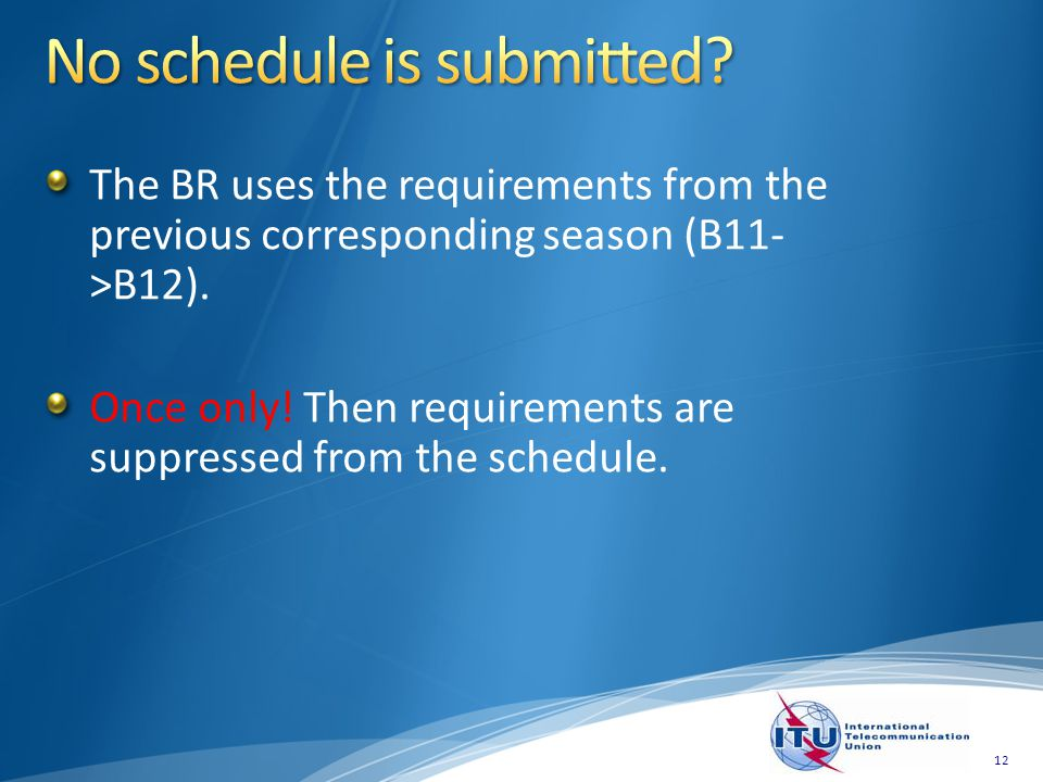 The BR uses the requirements from the previous corresponding season (B11- >B12). Once only! Then requirements are suppressed from the schedule. 12