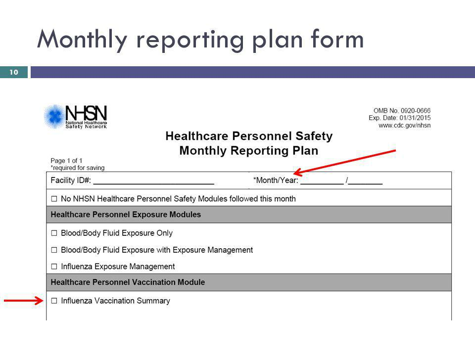 Monthly reporting plan form 10