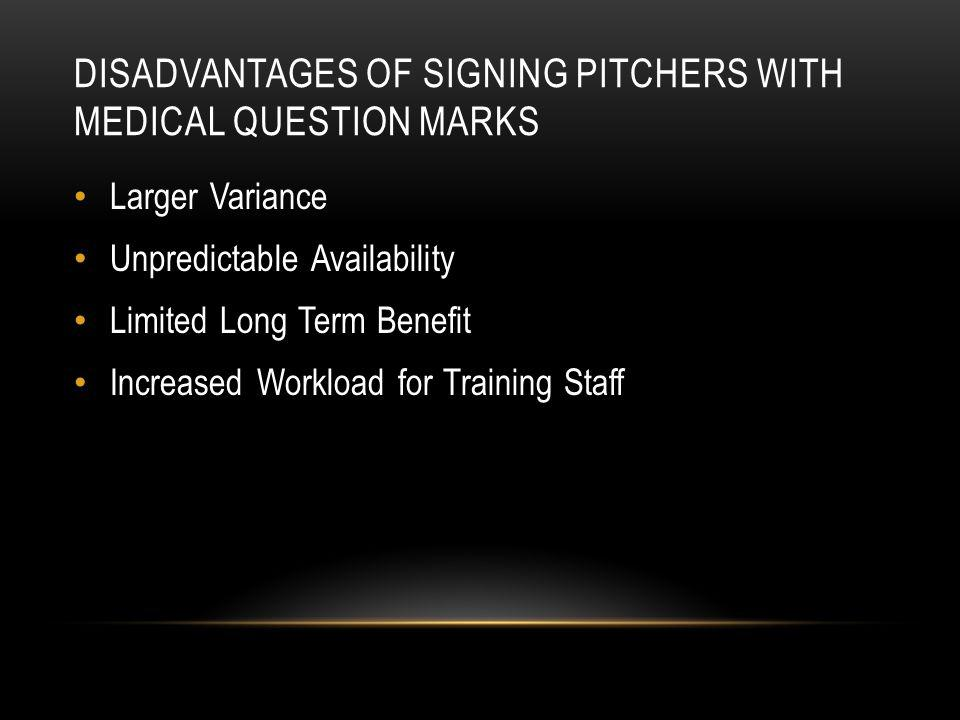 DISADVANTAGES OF SIGNING PITCHERS WITH MEDICAL QUESTION MARKS Larger Variance Unpredictable Availability Limited Long Term Benefit Increased Workload for Training Staff
