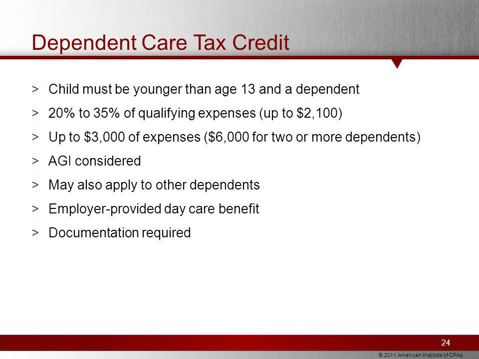 © 2011 American Institute of CPAs Dependent Care Tax Credit >Child must be younger than age 13 and a dependent >20% to 35% of qualifying expenses (up to $2,100) >Up to $3,000 of expenses ($6,000 for two or more dependents) >AGI considered >May also apply to other dependents >Employer-provided day care benefit >Documentation required 24