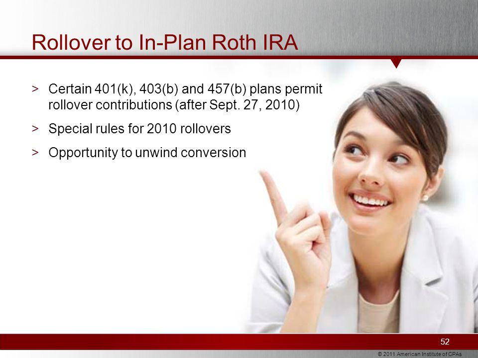 © 2011 American Institute of CPAs Rollover to In-Plan Roth IRA 52 >Certain 401(k), 403(b) and 457(b) plans permit rollover contributions (after Sept.