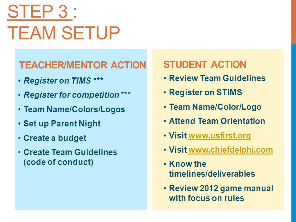 TEACHER/MENTOR ACTION STUDENT ACTION Review Team Guidelines Register on STIMS Team Name/Color/Logo Attend Team Orientation Visit www.usfirst.orgwww.usfirst.org Visit www.chiefdelphi.comwww.chiefdelphi.com Know the timelines/deliverables Review 2012 game manual with focus on rules Register on TIMS *** Register for competition *** Team Name/Colors/Logos Set up Parent Night Create a budget Create Team Guidelines (code of conduct) STEP 3 : TEAM SETUP
