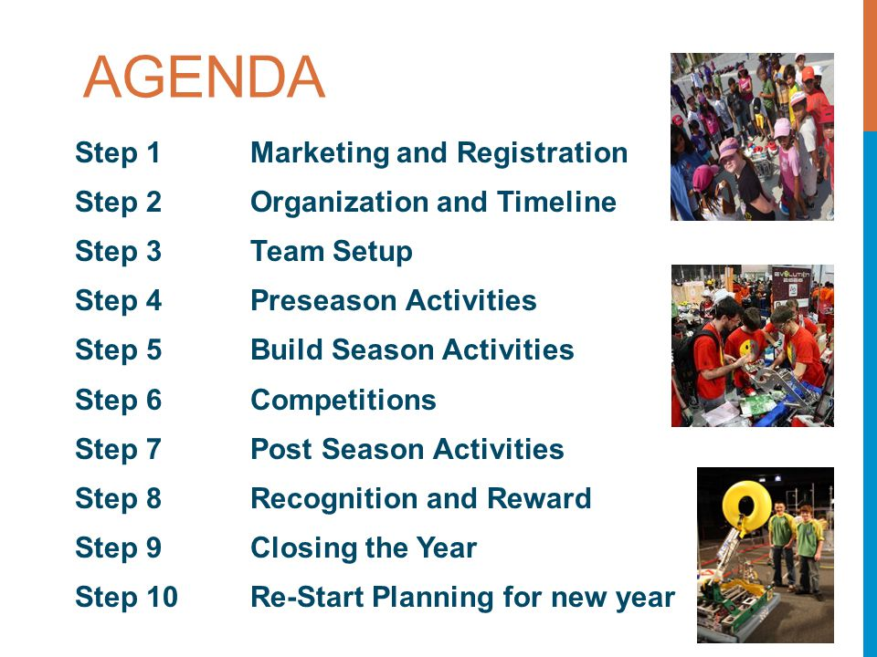 AGENDA Step 1 Marketing and Registration Step 2 Organization and Timeline Step 3 Team Setup Step 4 Preseason Activities Step 5 Build Season Activities Step 6 Competitions Step 7 Post Season Activities Step 8 Recognition and Reward Step 9 Closing the Year Step 10 Re-Start Planning for new year