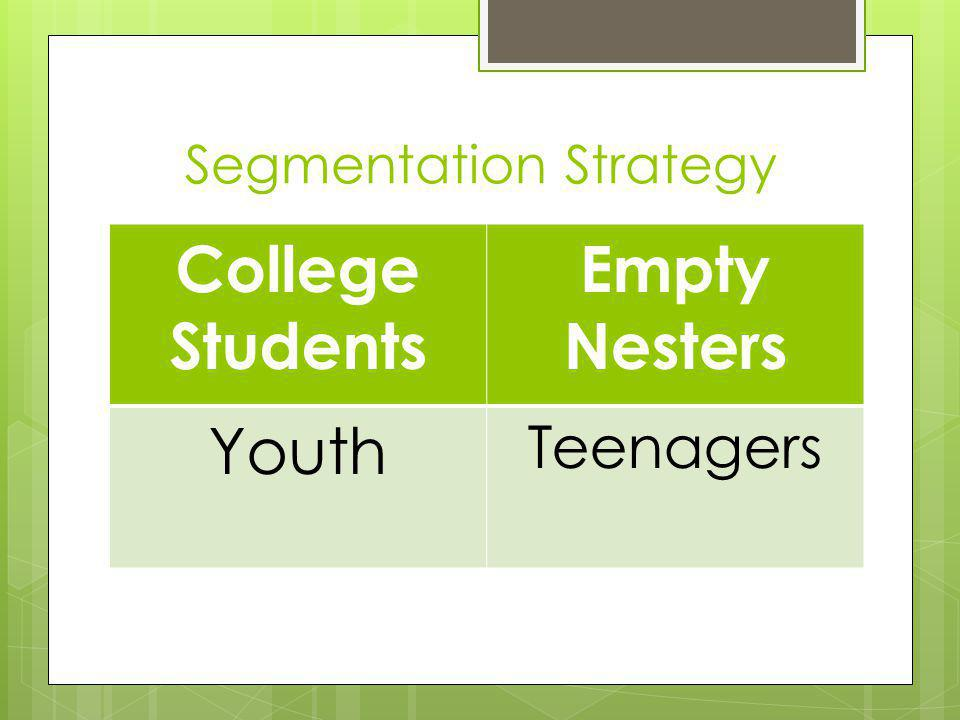 College Students Empty Nesters Youth Teenagers Segmentation Strategy