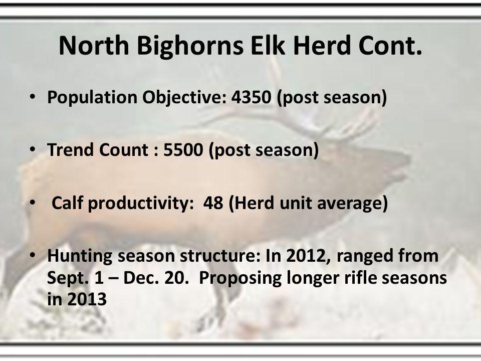 Sub Objectives (3 year averages) HA 35/36 - 1,200 elk (1373) HA 37 – 800 elk (1207) HA 38 – 1,000 elk (1074) HA 39 – 500 elk (383) HA 40 – 850 elk (873)