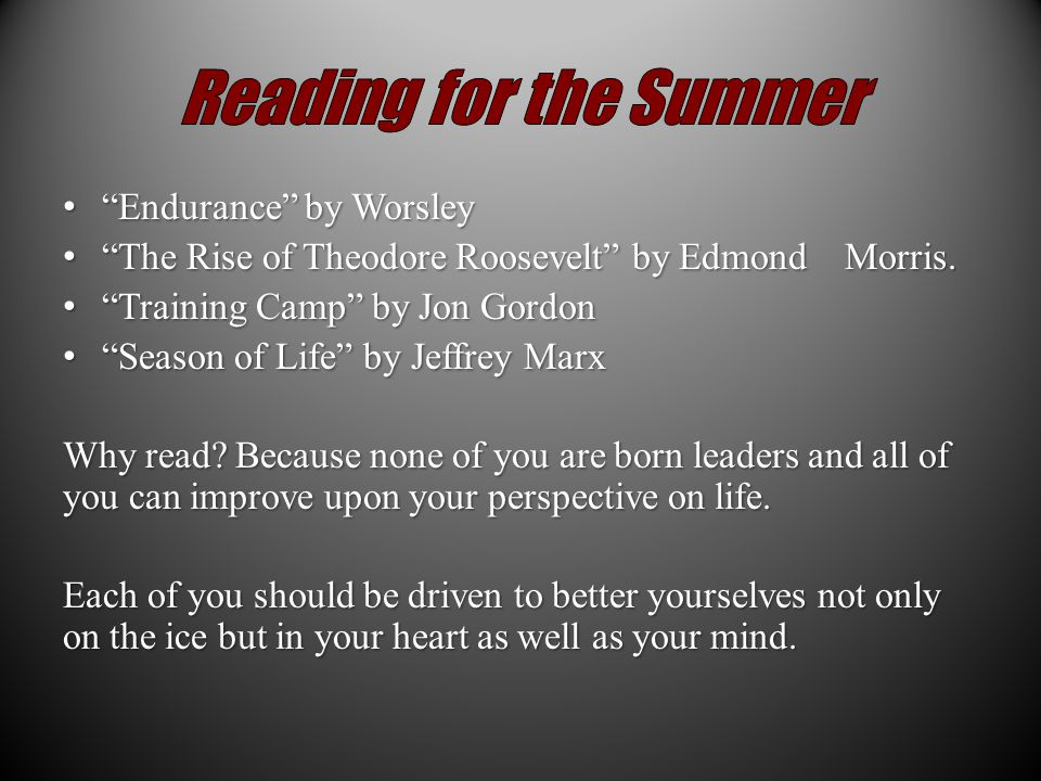 Endurance by Worsley Endurance by Worsley The Rise of Theodore Roosevelt by Edmond Morris.
