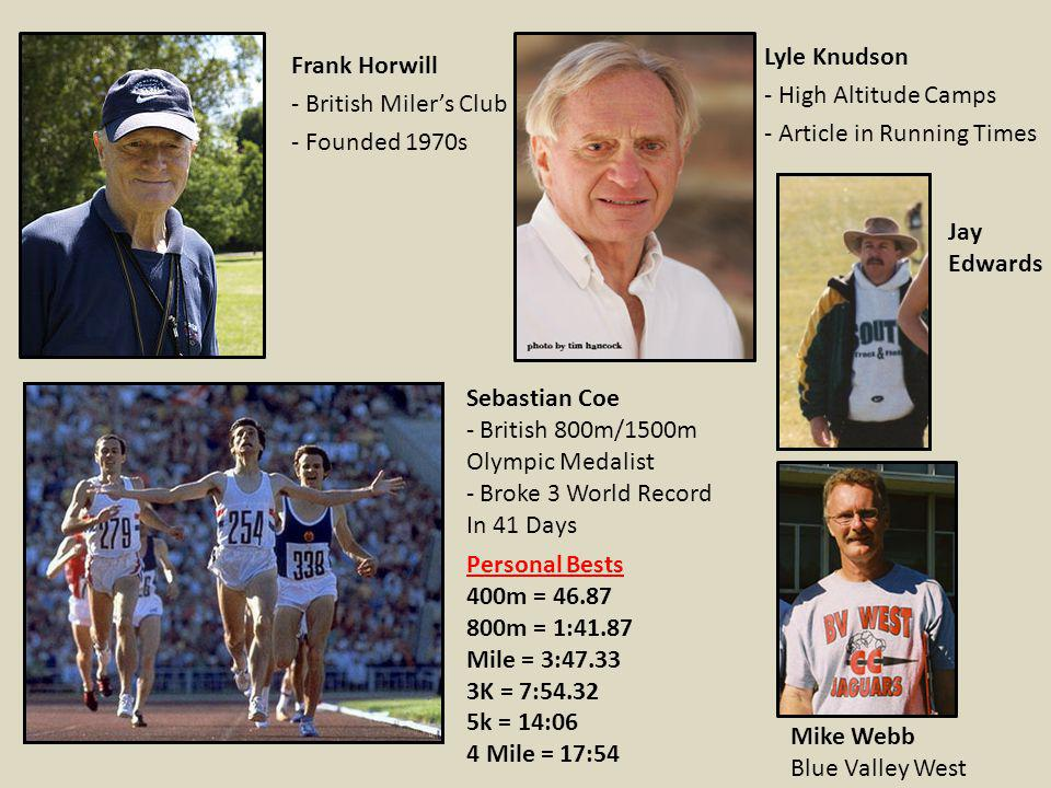 Frank Horwill - British Milers Club - Founded 1970s Lyle Knudson - High Altitude Camps - Article in Running Times Sebastian Coe - British 800m/1500m O