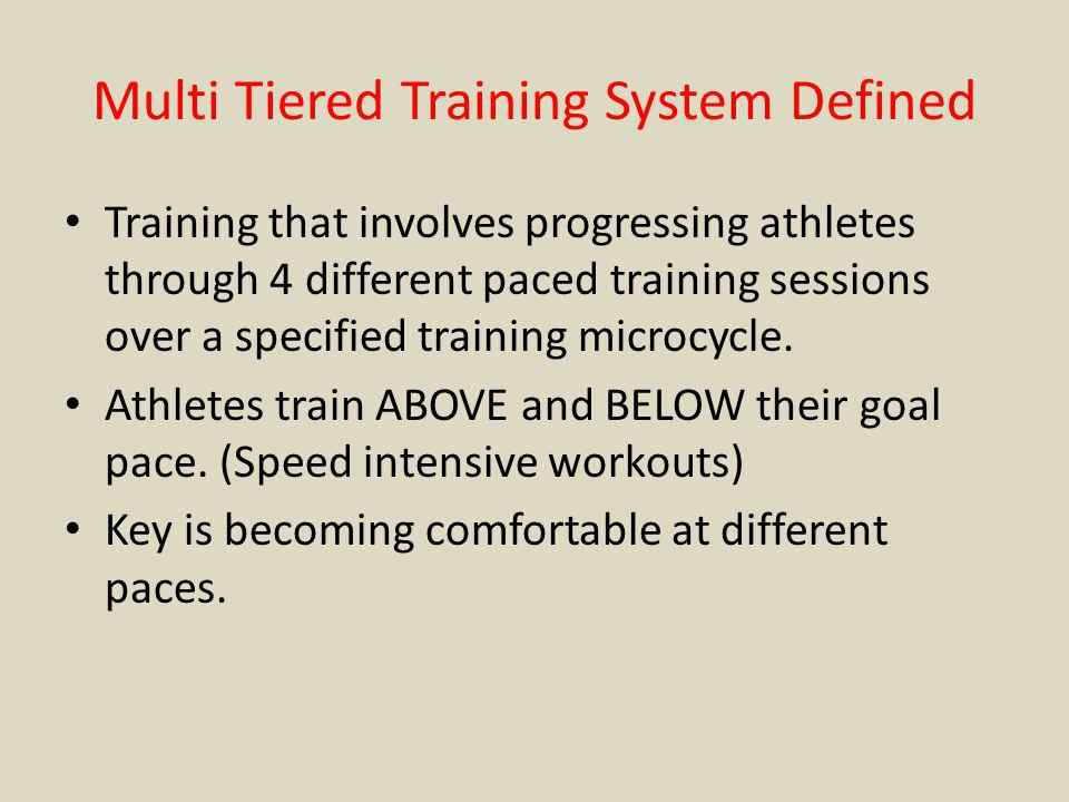 Multi Tiered Training System Defined Training that involves progressing athletes through 4 different paced training sessions over a specified training