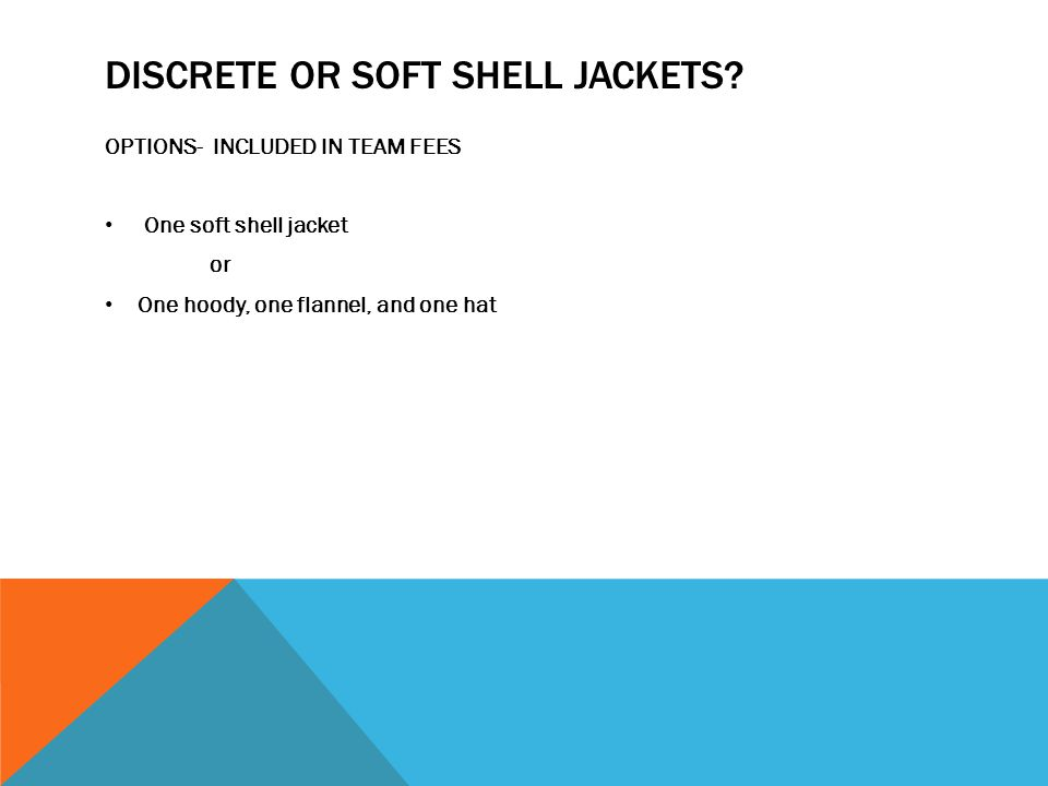 DISCRETE OR SOFT SHELL JACKETS.