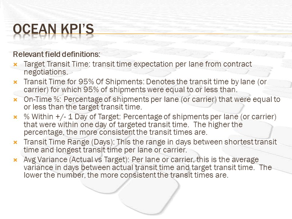Relevant field definitions: Target Transit Time: transit time expectation per lane from contract negotiations. Transit Time for 95% Of Shipments: Deno