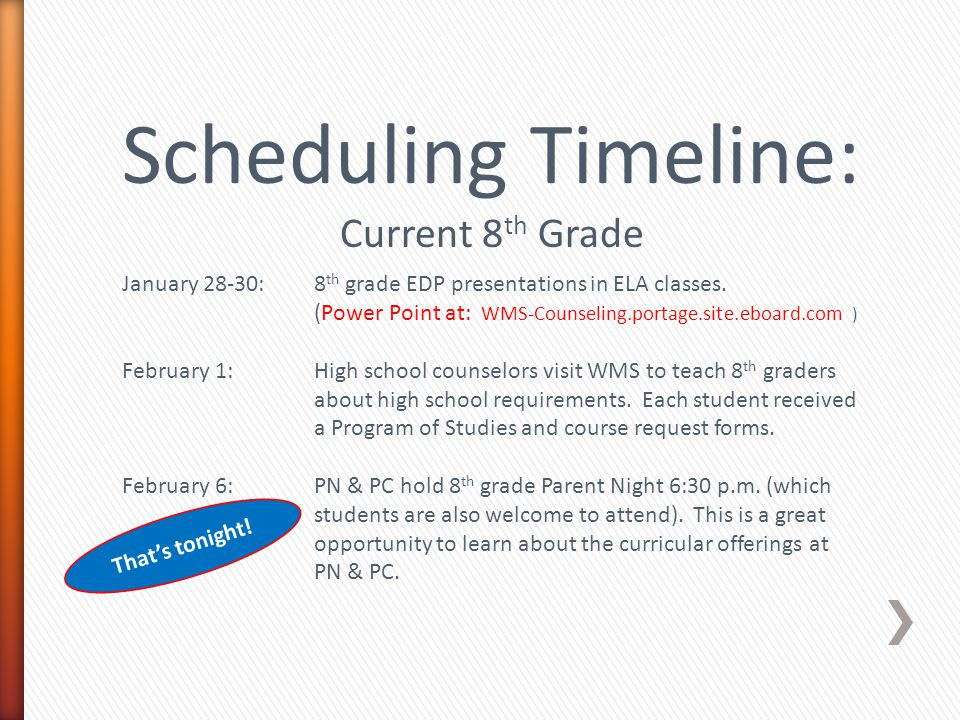 Scheduling Timeline: Current 8 th Grade January 28-30:8 th grade EDP presentations in ELA classes.