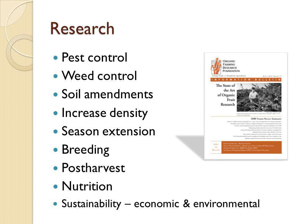 Research Pest control Weed control Soil amendments Increase density Season extension Breeding Postharvest Nutrition Sustainability – economic & environmental