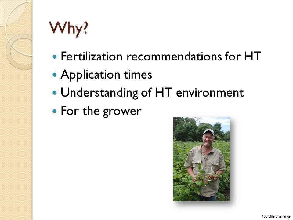 Why? Fertilization recommendations for HT Application times Understanding of HT environment For the grower 100 Mile Challenge
