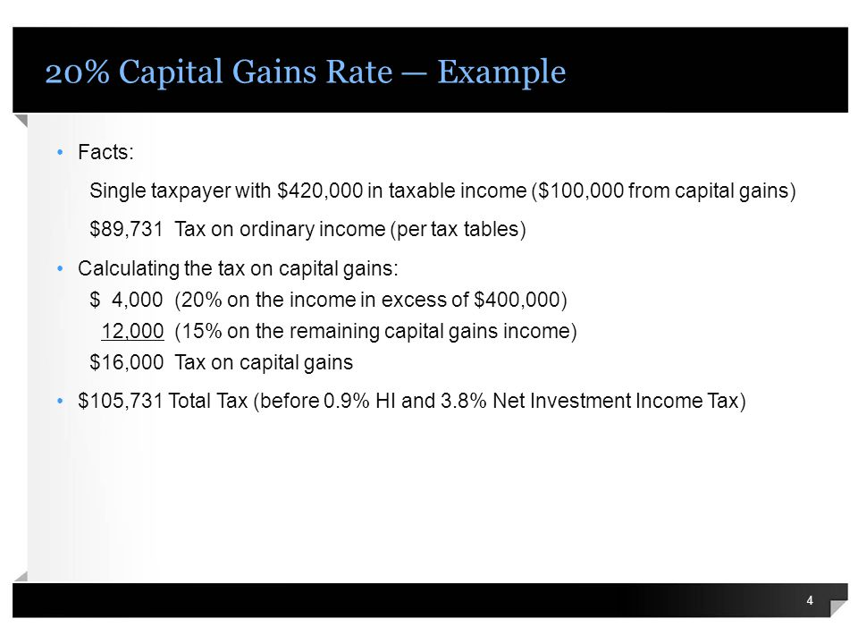 20% Capital Gains Rate Example Facts: Single taxpayer with $420,000 in taxable income ($100,000 from capital gains) $89,731 Tax on ordinary income (per tax tables) Calculating the tax on capital gains: $ 4,000 (20% on the income in excess of $400,000) 12,000 (15% on the remaining capital gains income) $16,000 Tax on capital gains $105,731 Total Tax (before 0.9% HI and 3.8% Net Investment Income Tax) 4