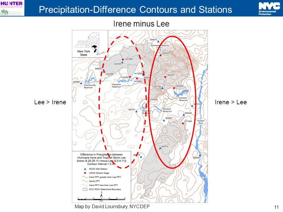 11 Precipitation-Difference Contours and Stations Irene minus Lee Irene > LeeLee > Irene Map by David Lounsbury, NYCDEP