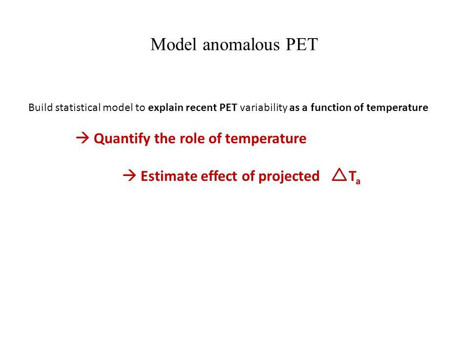 Model anomalous PET Build statistical model to explain recent PET variability as a function of temperature Quantify the role of temperature Estimate e