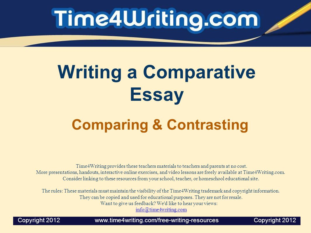What Does a Comparative Essay Do.