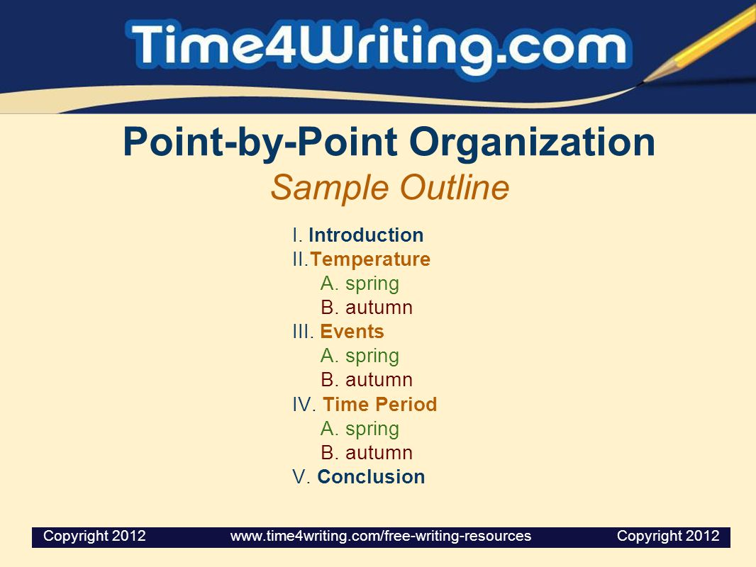 Point-by-Point Organization Sample Outline I. Introduction II.Temperature A. spring B. autumn III. Events A. spring B. autumn IV. Time Period A. sprin