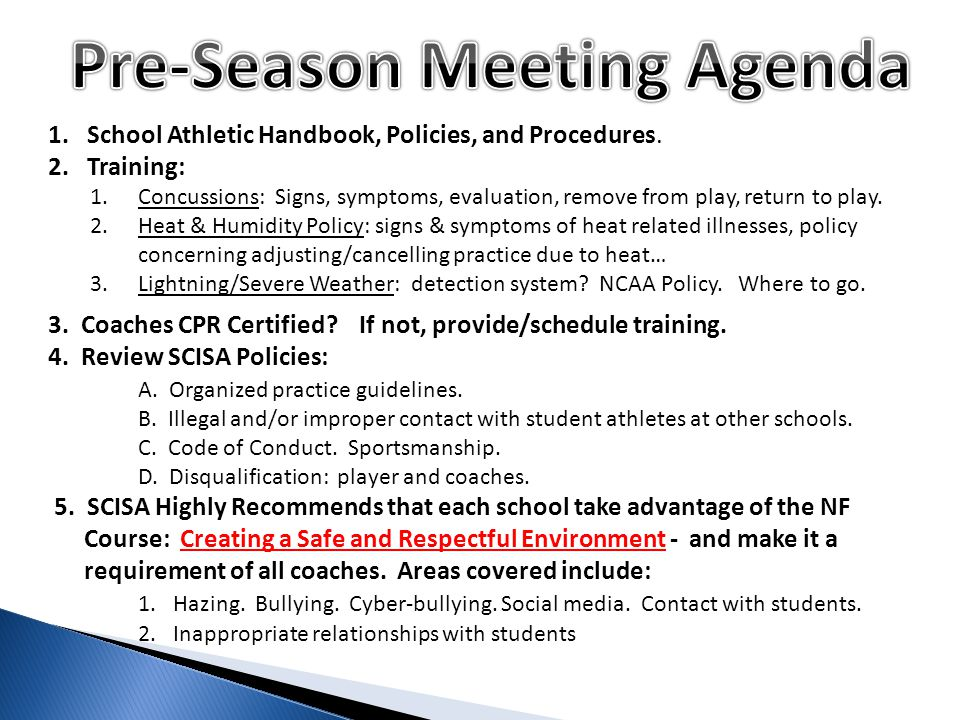 1. School Athletic Handbook, Policies, and Procedures.