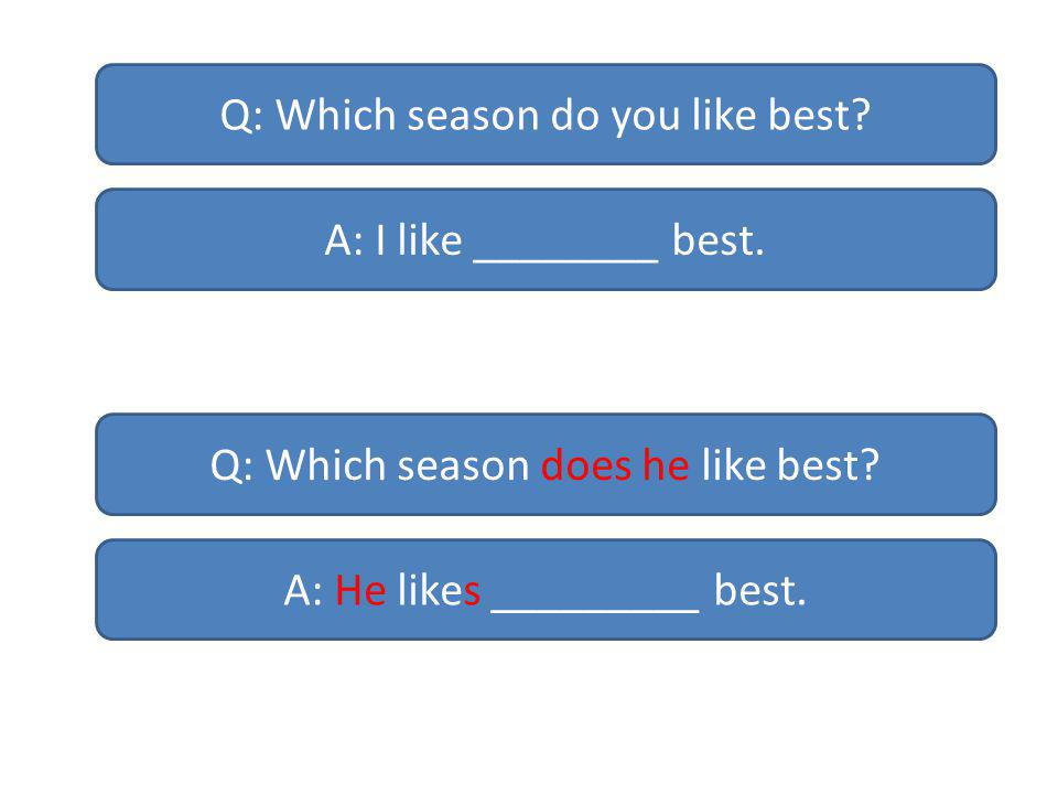 Q: Which season do you like best. A: I like ________ best.