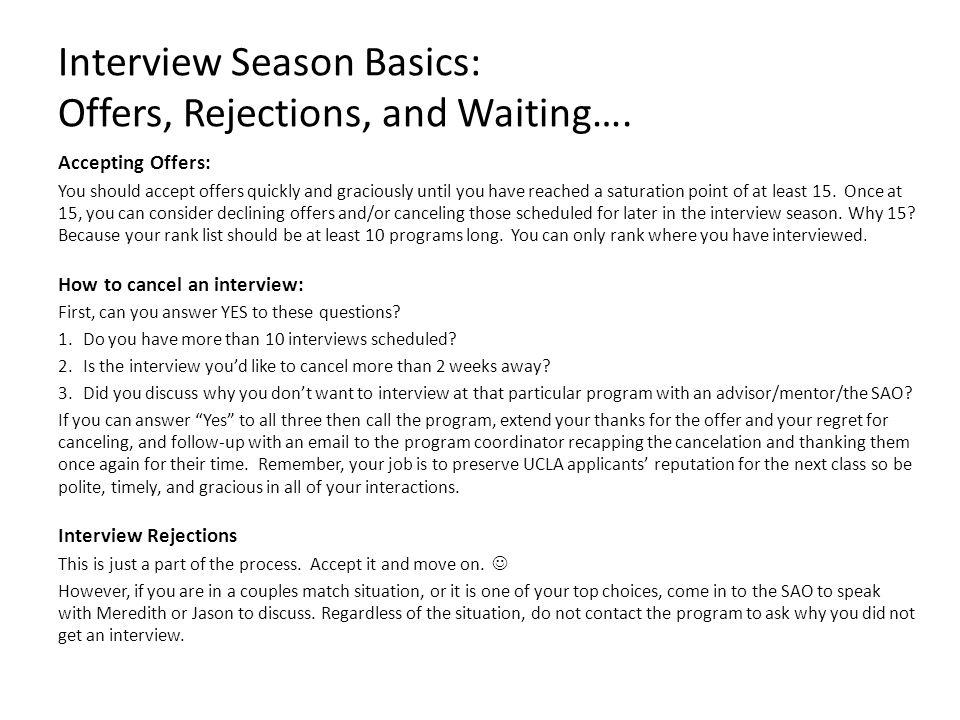 Interview Season Basics: Offers, Rejections, and Waiting….