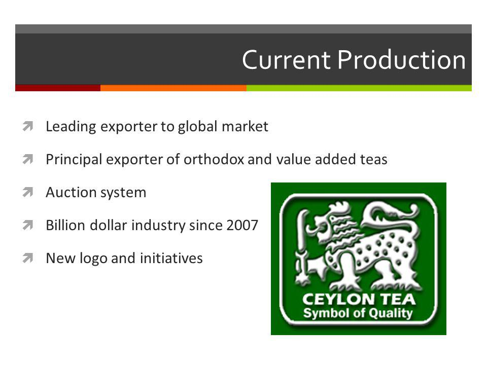Current Production Leading exporter to global market Principal exporter of orthodox and value added teas Auction system Billion dollar industry since 2007 New logo and initiatives