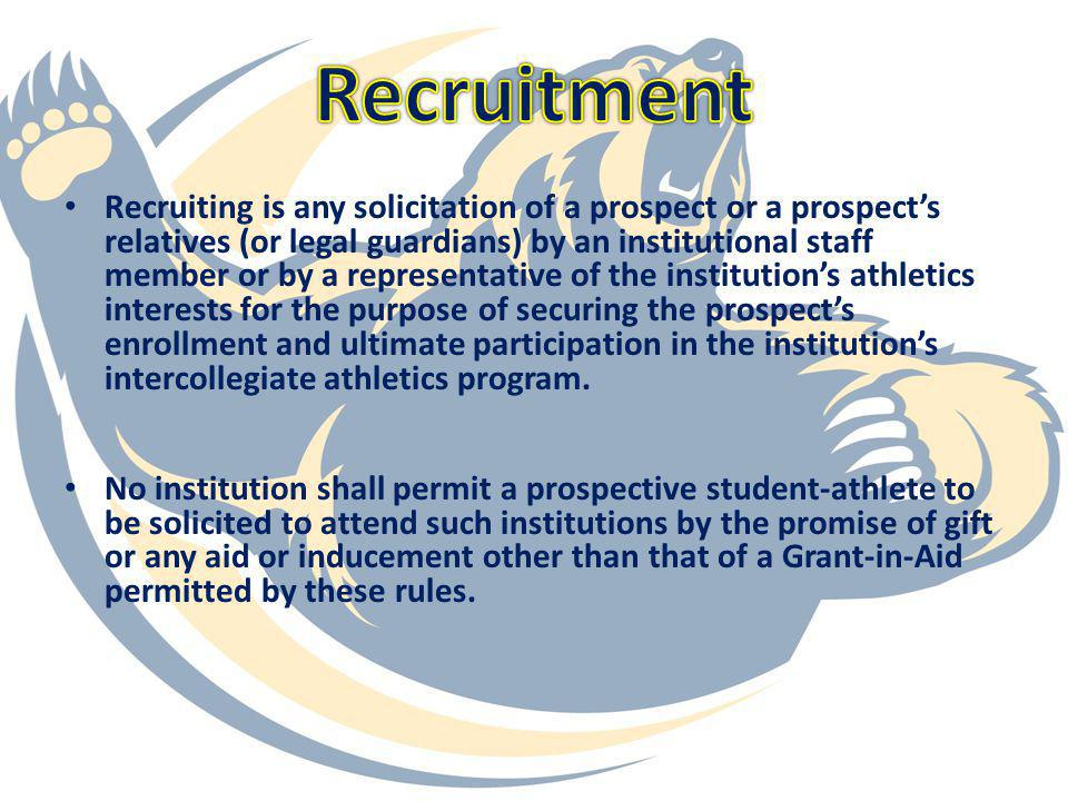 On Campus Recruiting and Official Visits: An institution may pay for one visit to its campus by direct route of a prospective student-athlete for a stay not to exceed two (2) days and two (2) nights.