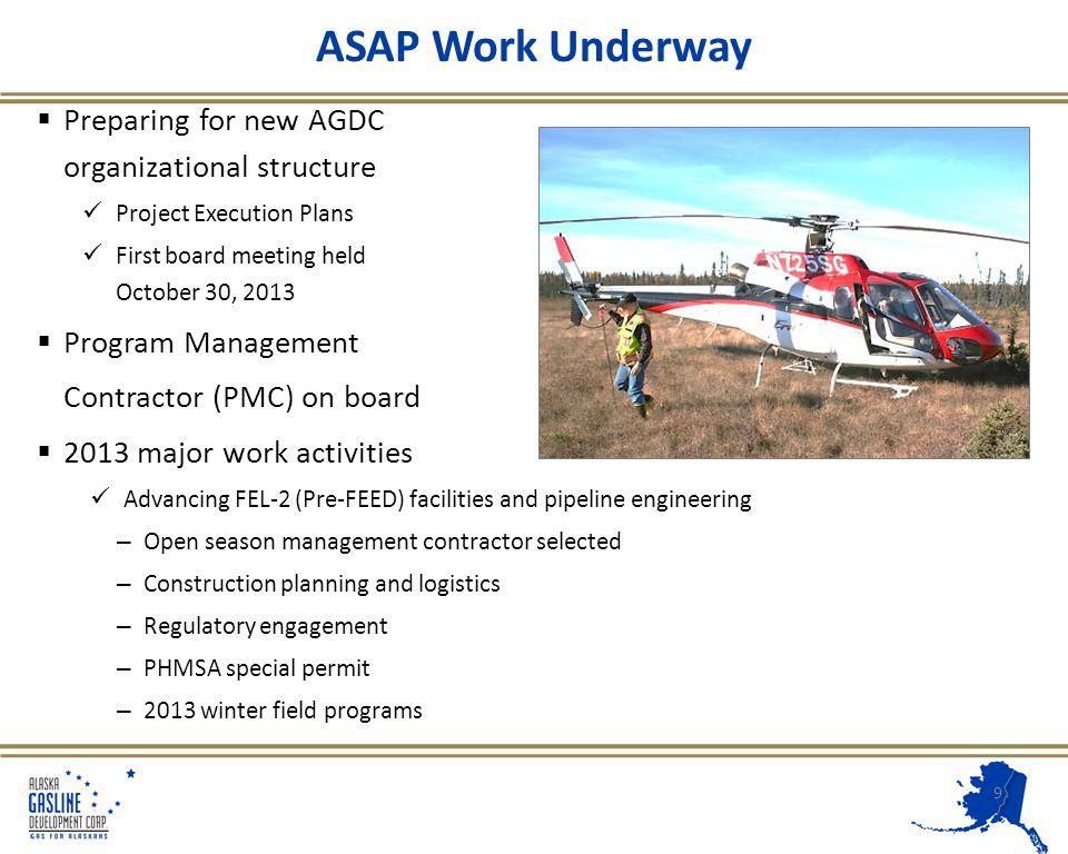 ASAP Work Underway Preparing for new AGDC organizational structure Project Execution Plans First board meeting held October 30, 2013 Program Management Contractor (PMC) on board 2013 major work activities Advancing FEL-2 (Pre-FEED) facilities and pipeline engineering – Open season management contractor selected – Construction planning and logistics – Regulatory engagement – PHMSA special permit – 2013 winter field programs 9
