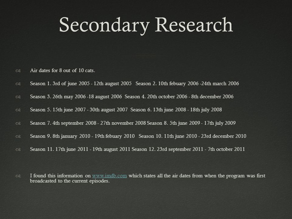 Secondary ResearchSecondary Research Air dates for 8 out of 10 cats.