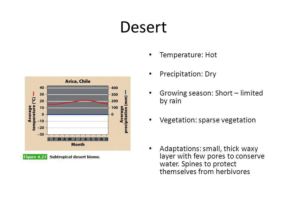 Desert Temperature: Hot Precipitation: Dry Growing season: Short – limited by rain Vegetation: sparse vegetation Adaptations: small, thick waxy layer