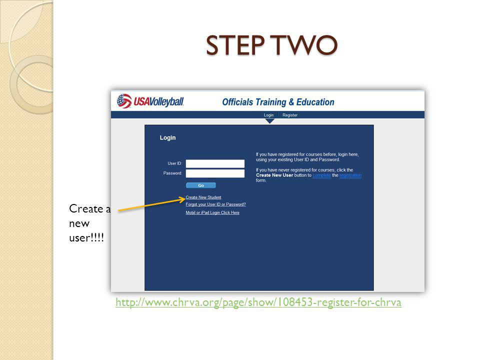 STEP TWO Create a new user!!!! http://www.chrva.org/page/show/108453-register-for-chrva