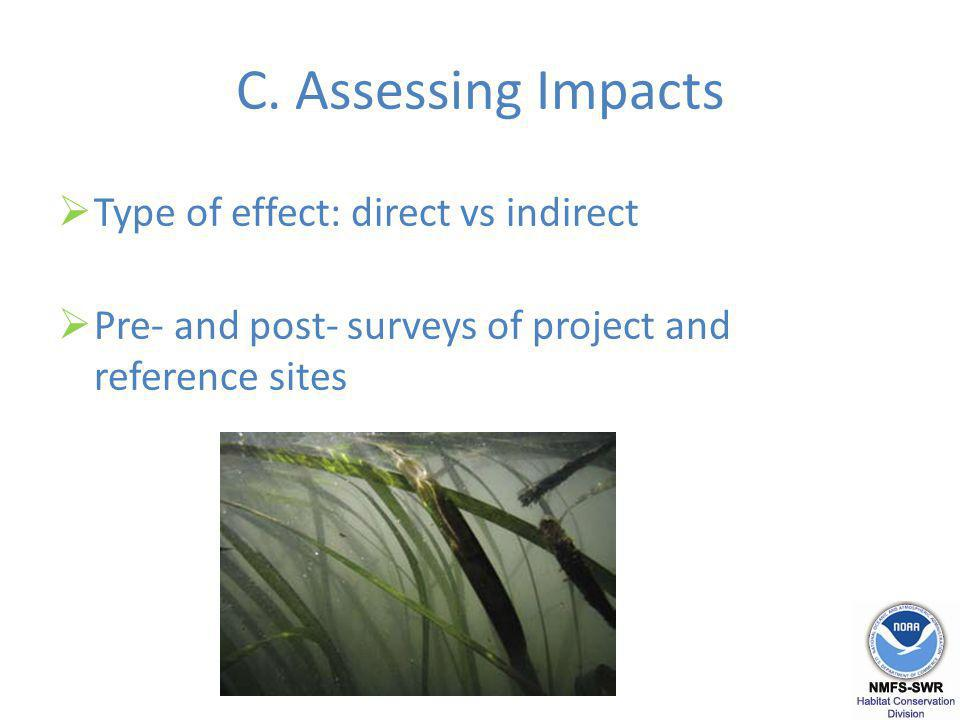 C. Assessing Impacts Type of effect: direct vs indirect Pre- and post- surveys of project and reference sites