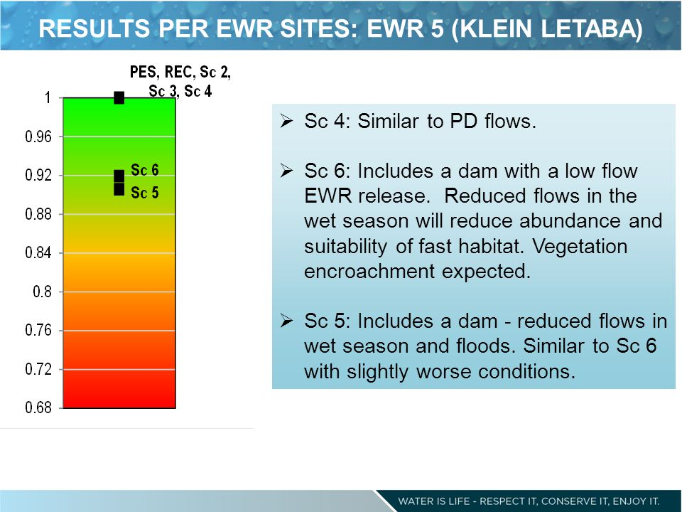 RESULTS PER EWR SITES: EWR 5 (KLEIN LETABA) Sc 4: Similar to PD flows.