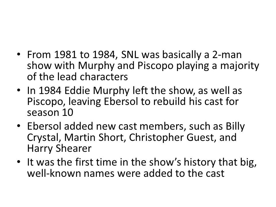 The 1984-1985 season had more pre-taped segments than any other SNL era ever Larry David was hired as a writer this season, but only one of his sketches made it to the air The cast and writing staff, along with Dick Ebersol and Bob Tischler left at the end of this season