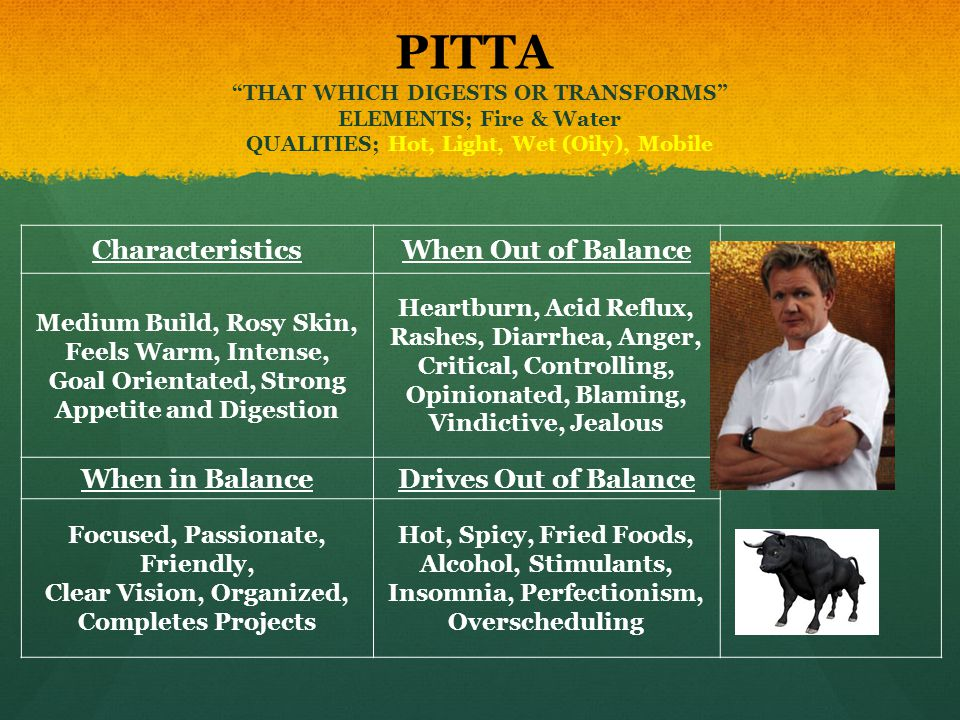 PITTA THAT WHICH DIGESTS OR TRANSFORMS ELEMENTS; Fire & Water QUALITIES; Hot, Light, Wet (Oily), Mobile CharacteristicsWhen Out of Balance Medium Buil